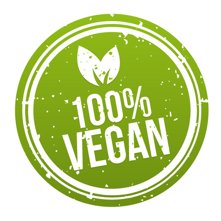 Green 100% Vegan Badge Button. Ilustrace