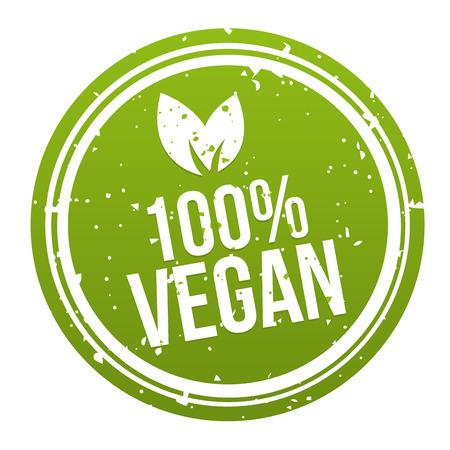Green 100% Vegan Badge Button. Illustration