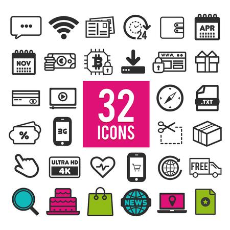 Set of flat icons, for web, internet, mobile apps, interface design - travel, business, shopping, finance, communication, medical, computer, media, transportation, marketing on white background