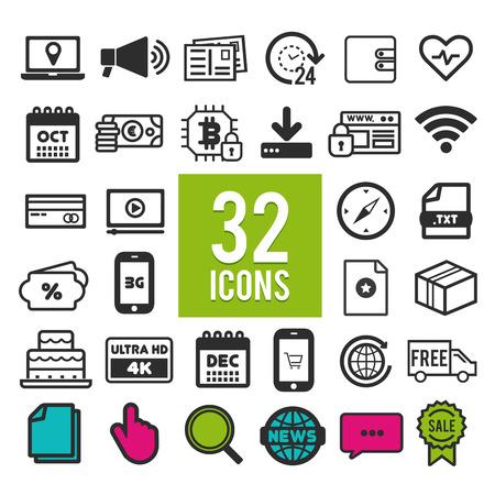 Set flat icons, for web, internet, mobile apps, interface design - finance, travel, media, shopping, communication, medical, computer, transportation, business, marketing on white background