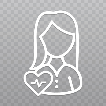 Thin line woman with Heartbeat icon. Healthcare icon on transparent background. Illustration