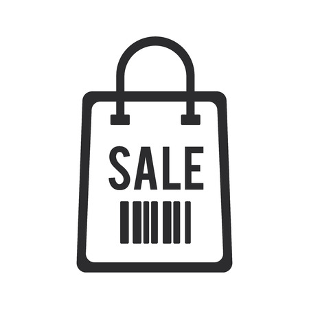 Sale icon. Shopping bag symbol. Barcode sign.