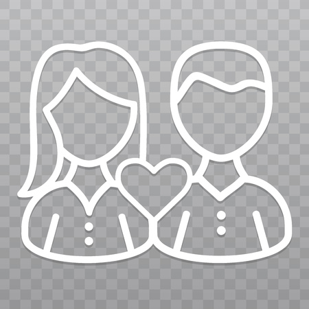 Thin line Couple love icon. Friendship icon on transparent background. Illustration