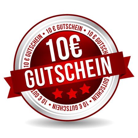 Bouton de coupon de 10 euros - Bannière de marketing de badge en ligne avec ruban. Traduction Allemand: 10 Euro Gutschein Vecteurs