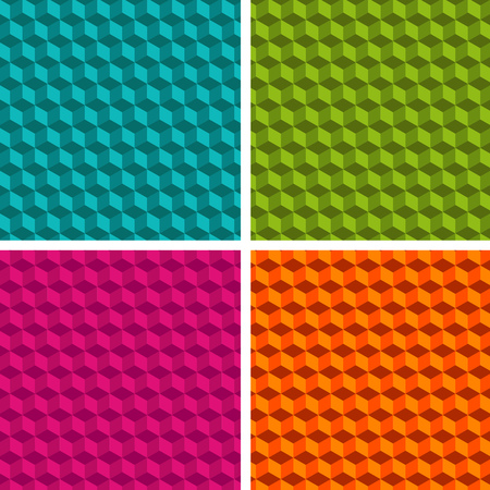 Set of four cube patterns. Collection of different abstract patterns. Eps10 Vector. Illustration