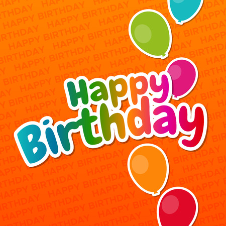Happy Birthday greeting Card with Balloons and background. Standard-Bild - 114805457