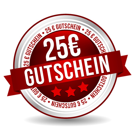 25 Euro Coupon Button - Online Badge Marketing Banner with Ribbon. German-Translation: 25 Euro Gutschein