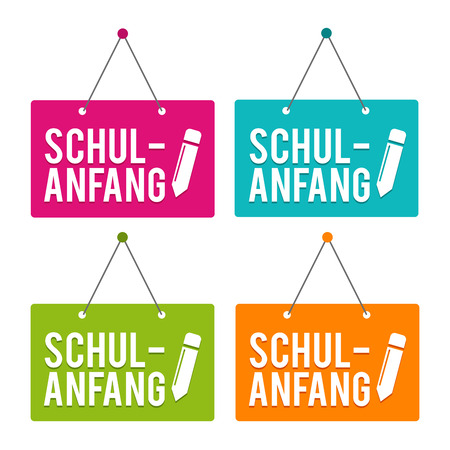 Back to School hanging Door Sign. German-Translation: Schulanfang - Eps10 Vector.