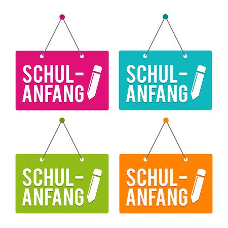 Back to School hanging Door Sign. German-Translation: Schulanfang - Eps10 Vector.