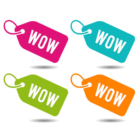 Wow Price Tags Banner. Flat Button Eps10 Vector Illustration. Фото со стока - 114708746