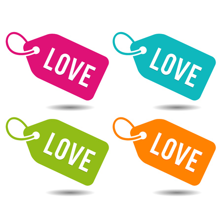 Love Price Tags Banner. Flat Button Eps10 Vector Illustration. Иллюстрация