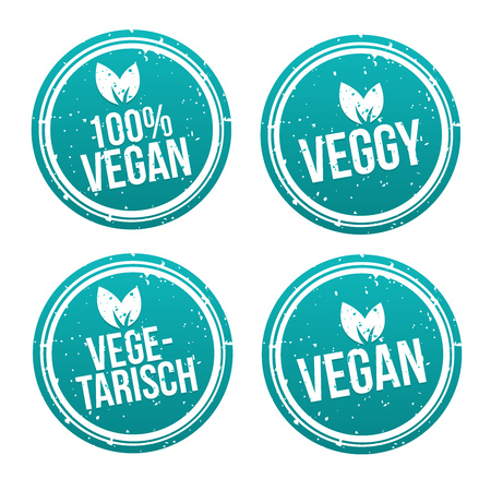 Blue vegan Badge Set. German-Translation: Vegan Button und Vegetarisch Banner Set. Фото со стока - 114687833