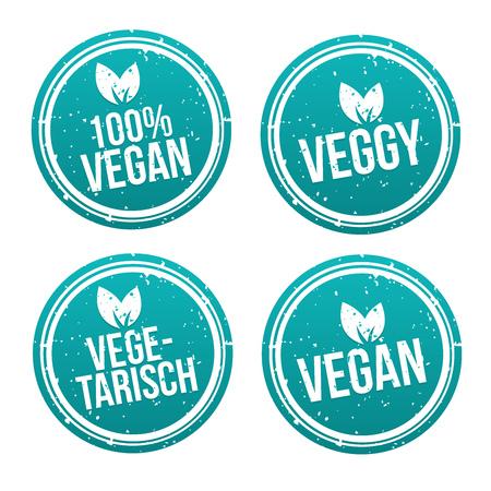 Blue vegan Badge Set. German-Translation: Vegan Button und Vegetarisch Banner Set. Illustration