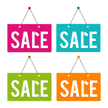 Sale hanging Door Sign. Eps10 Vector.