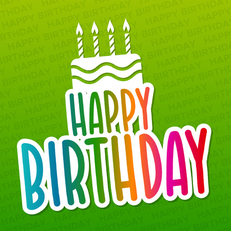 Happy Birthday greeting Card with Cake Icon.