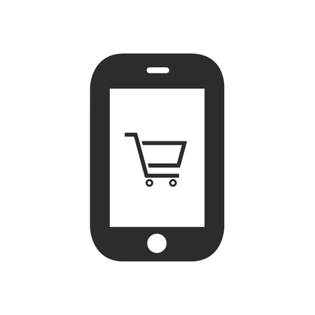 Smartphone shopping cart icon. Online shopping symbol. Ecommerce sign.