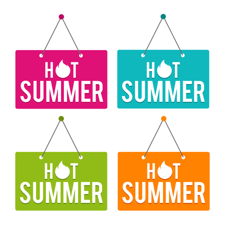 Hot summer hanging Door Sign. Eps10 Vector. Иллюстрация