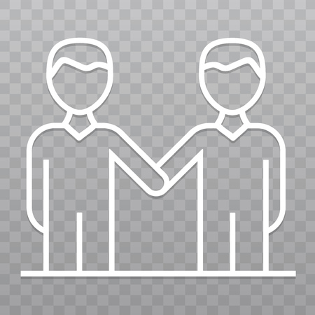 Thin line Angreement business People icon. Success handshake icon on transparent background. Иллюстрация