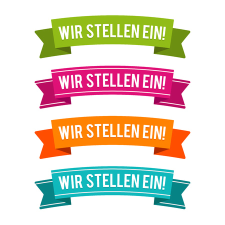 Colorful We need you ribbons. Eps10 Vector. German-Translation: Wir stellen ein!