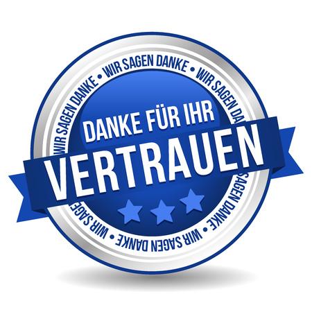 Siegel Button Banner - Danke für Ihr Vertrauen - w kolorze blau und silber Ilustracje wektorowe