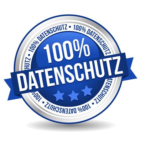 Siegel Button Banner - 100% Datenschutz - in blau und silber