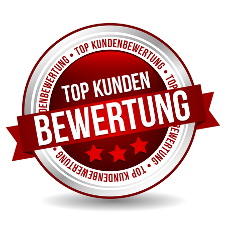 Top customer reviews Badge - German Translation: Top customer rating Stock Illustratie