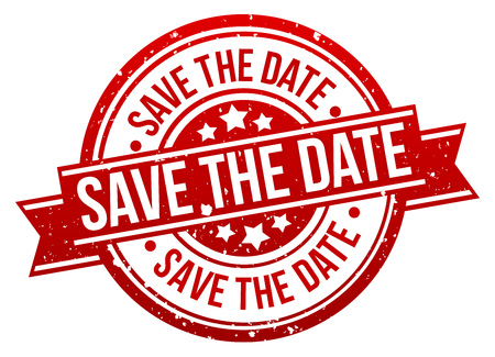 Save the Date Stamp Button Banner Badge in red. Иллюстрация