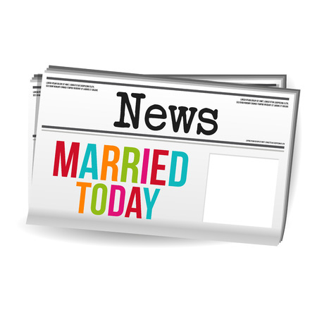 Married today Newspaper Magazine News. Eps10 Vector.