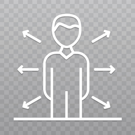 Thin line Opportunities business People icon. Business direction icon on transparent background.