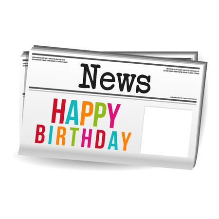 Happy Birthday Newspaper Magazine News. Eps10 Vector. Illustration