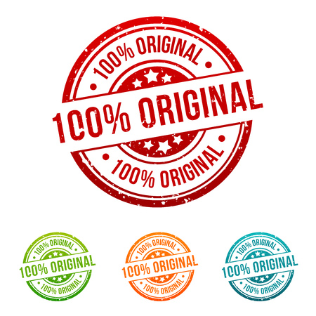 100% Original Stamp Button Banner Badge in different colours. Иллюстрация