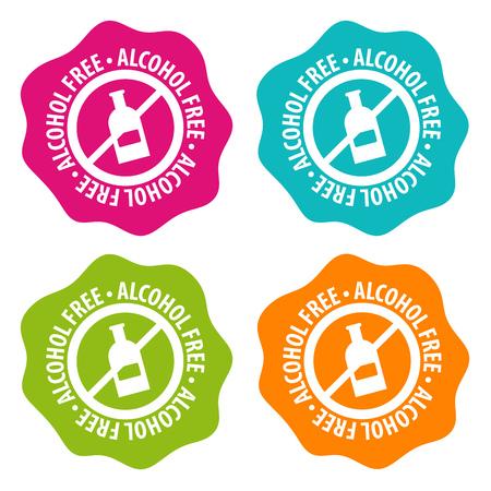 Alcohol free Badges. Eps10 Vector. Ilustracje wektorowe