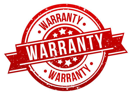 Warranty Stamp Button Banner Badge in red. Eps10 Vector. Иллюстрация