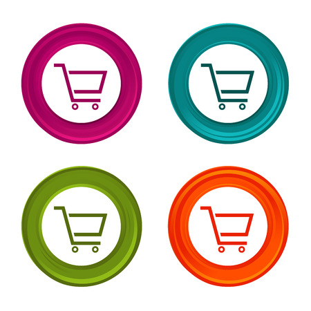 Shopping Cart icons. Sale signs. Shopping symbol. Colorful web button with icon.