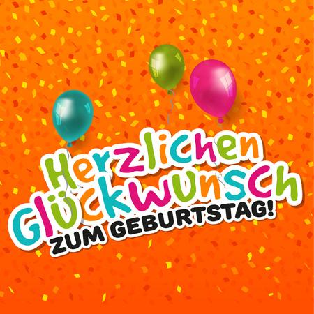 Happy Birthday Card - German-Translation: Herzlichen Gl�ckwunsch zum Geburtstag. Illustration