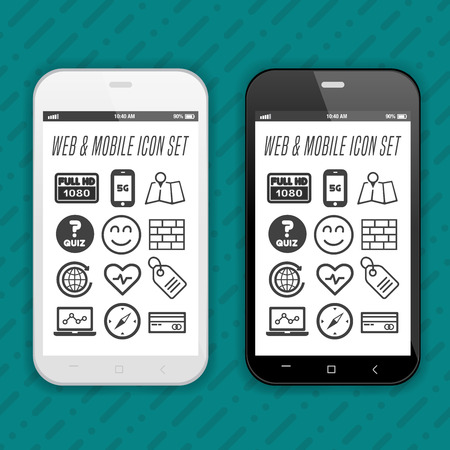 Black and white Smartphone with set of icons. Иллюстрация