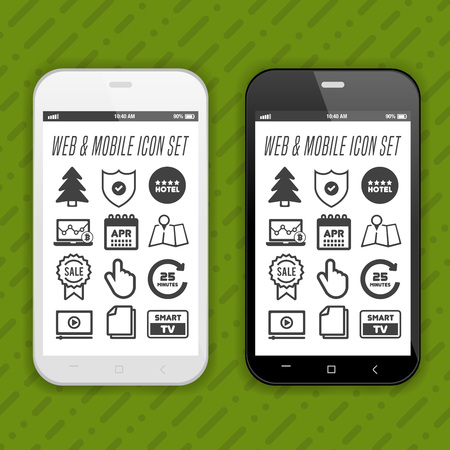 Smartphone with web and mobile application icons on screen. Иллюстрация