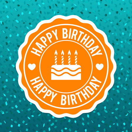 Happy Birthday Label Design and blue confetti background. Eps10 Vector. Иллюстрация