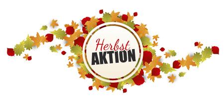 Herbstaktion Banner - Herbst Button mit Laub Standard-Bild - 117798447