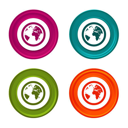 Globe Earth icons. Planet signs. World symbol. Colorful web button with icon.