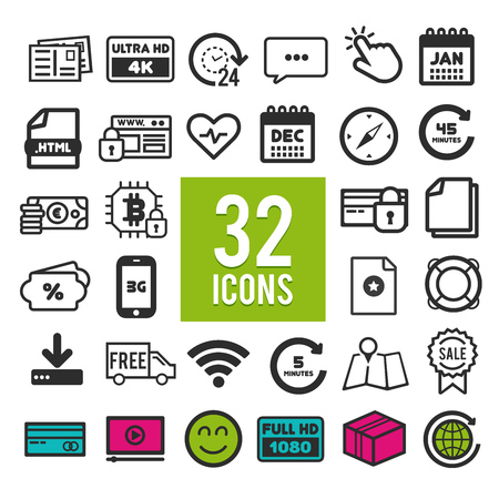 Set of flat icons for web, mobile apps and interface design: business, transportation, travel, finance, shopping, communication, media, fitness, summer, computer, easter, christmas, device
