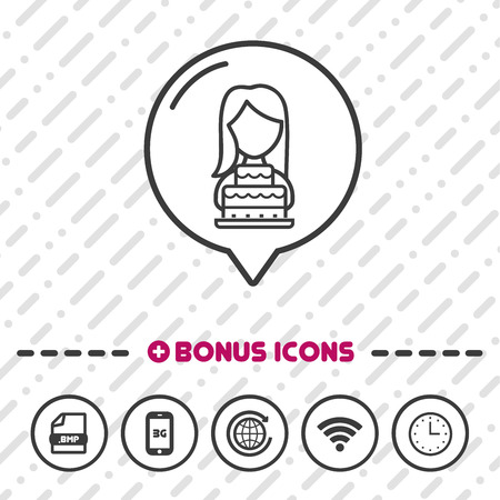 Woman with Birthday cake Icon thin line Bonus Icons. Eps10 Vector. Иллюстрация