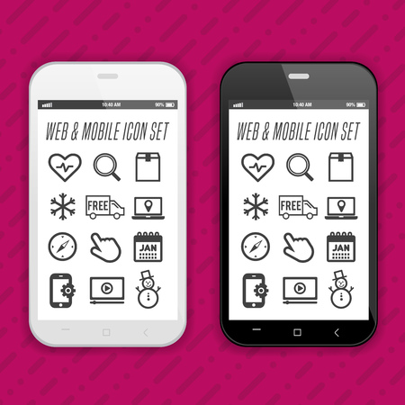 Black and white Smartphone with set of icons. Eps10 Vector.