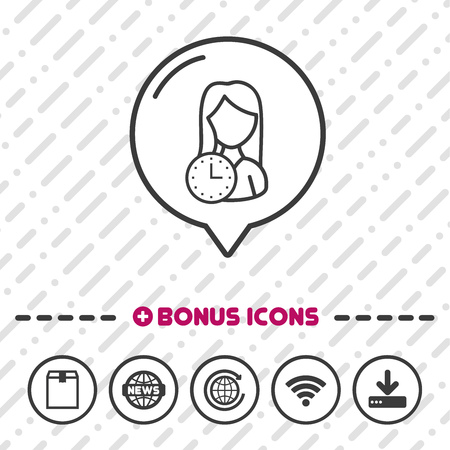 Woman with Clock Icon thin line Bonus Icons. Eps10 Vector.