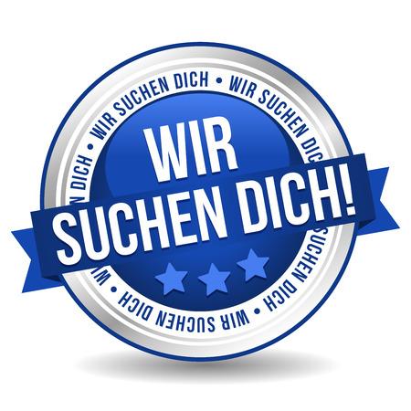 Siegel Button Banner - Wir suchen Dich - in blau und silber