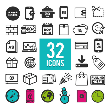 Set of flat icons for web and mobile app on white background. Collection modern infographic logo and pictogram.