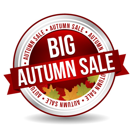 Big Autumn Sale Button - Online Badge Marketing Banner with Ribbon. Иллюстрация