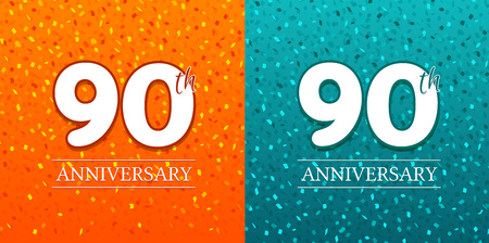 90th Anniversary Background - 90 years Celebration. Birthday Eps10 Vector. Иллюстрация