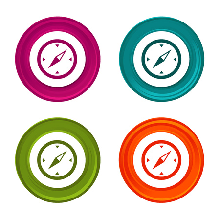 Compass icons. Travel signs. Navigation symbol. Colorful web button with icon. Иллюстрация