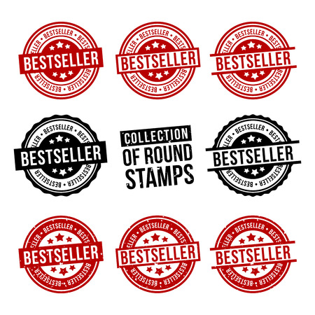Bestseller round stamp collection. Badges set. Eps10 vector.